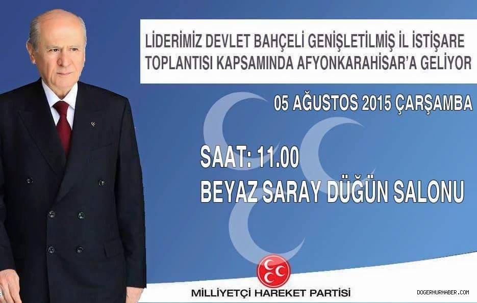 MHP LİDERİ BAHÇELİ YARIN AFYON'A GELİYOR