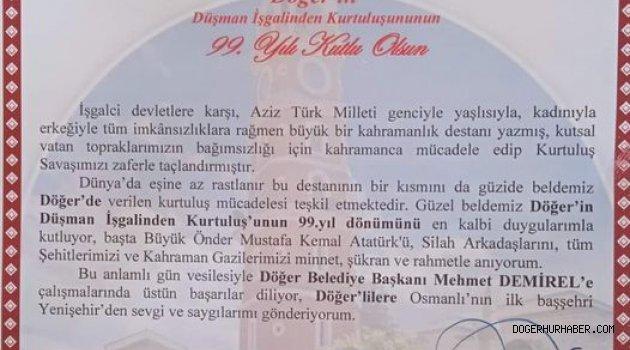 Yenişehir Belediye Başkanı Davut AYDIN'dan Kutlama Mesajı